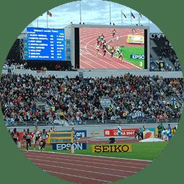 Urheilustadionin led-näyttö